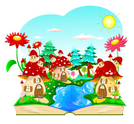 Stylized children's book with a cartoon landscape and houses in the form of mushrooms. Opened book with mushroom houses and landscape. Foto de archivo - 126123497