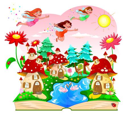 Fate gioiose che volano nel cielo sopra le case dei funghi. Paesaggio con case a fungo, un fiume, foresta e fiori. Un libro aperto con un paesaggio da cartone animato.