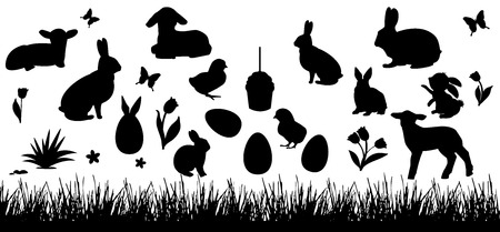 Silhouettes of rabbits, chickens, lambs on a white background. Grass, butterfly and flowers. Set of easter elements for design. Illustration