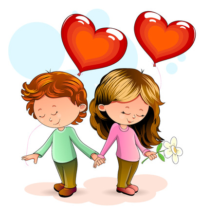 Girl and boy standing together and holding hands. Boy and girl with heart-shaped balloons.