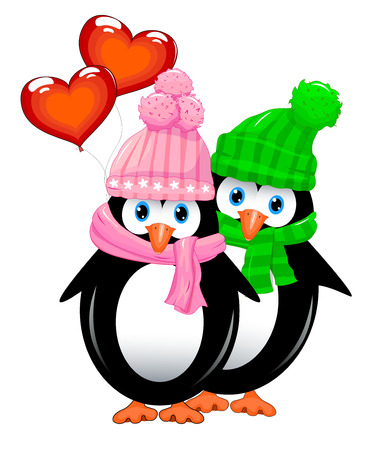 Two penguins with heart shaped balloons. Penguins on a white background. Ilustração