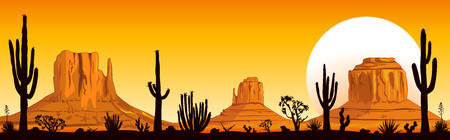 Landscape rocky desert. Mountains and cacti. Sunny sunset in the desert. Monument Valley in Arizona and Utah. 일러스트