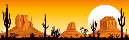 Landschaftsfelsige Wüste. Berge und Kakteen. Sonniger Sonnenuntergang in der Wüste. Monument Valley in Arizona und Utah.