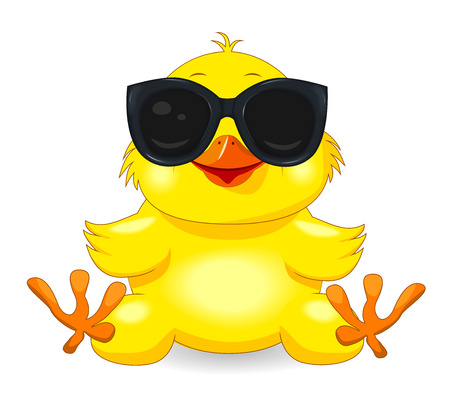 Little yellow chicken with sunglasses. Chick on a white background. Cartoon chick. Vector Illustration