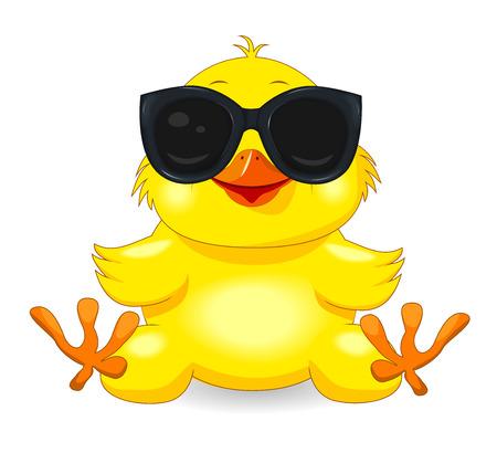Pollito amarillo con gafas de sol. Pollito sobre un fondo blanco. Chica de dibujos animados. Ilustración de vector