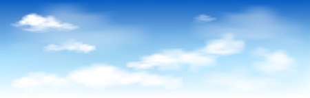 White clouds on the blue sky. Abstract background with clouds on blue sky. In the clear sky high floating clouds. 矢量图像