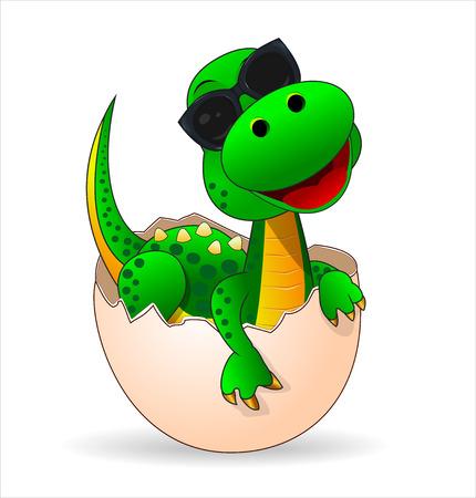 Pequeño dinosaurio verde que acaba de salir del huevo. Lindo bebé dinosaurio con gafas de sol.