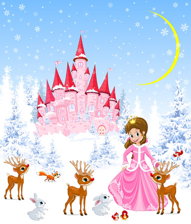 Princess on the background of a pink castle. Winter forest. Little deer, bunnies and birds. Winter night. Snowflakes and snow.