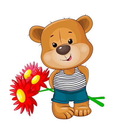 Little bear with flowers on a white background. A bear holds a bouquet of red flowers. 일러스트