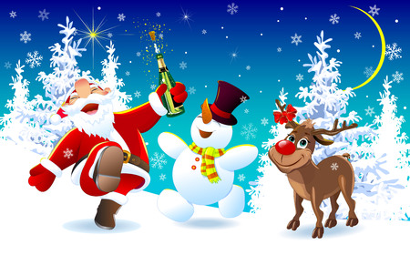 Santa Claus, deer and snowman in the winter forest. Merry Santa Claus, deer and snowman are happy on Christmas night. The Joy of Christmas. Illustration