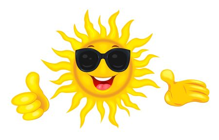 A merry cartoon sun in protective glasses from the sun. A cheerful cartoon sun on a white background. Smiling sun and hands with a finger raised up. 일러스트