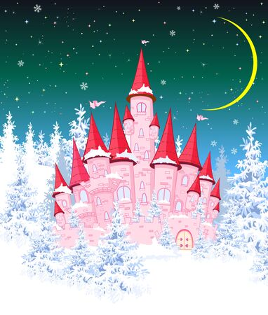 Cartoon pink castle on the background of winter snow-covered forest. Winter landscape with a pink castle in the woods, snow, night, moon.