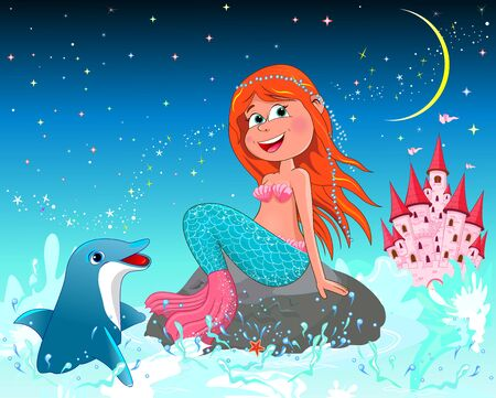 A beautiful mermaid sits on a sea stone. Mermaid and dolphin on a background of a night starry sky. Pink princess castle.                                                                                                                                                                                                                                 일러스트