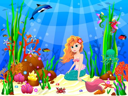 The little mermaid underwater among sea creatures and underwater plants. Cute mermaid sitting on the bottom of the sea. 일러스트