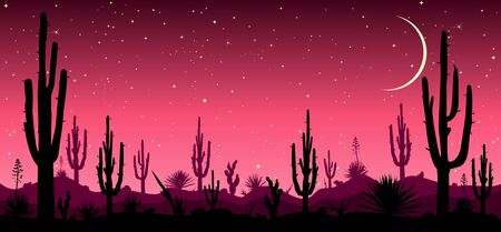 Desert, cacti, stars night. Starry night over the Mexican desert. Silhouettes of stones, cacti and plants. Desert landscape with cacti. Stony desert.                                                                                                                                                                                                                                                                                                                                                                          일러스트