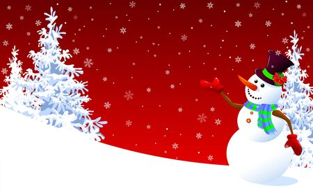 A snowman in a hat welcomes on a winter background. Snowman on a background of fir-trees and snowflakes.