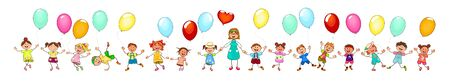 Joyful little children and a teacher. A group of happy, smiling children with balloons. A group of children with a teacher on a walk. Group of cheerful, smiling children on a white background. Cartoon joyful children.                                              일러스트