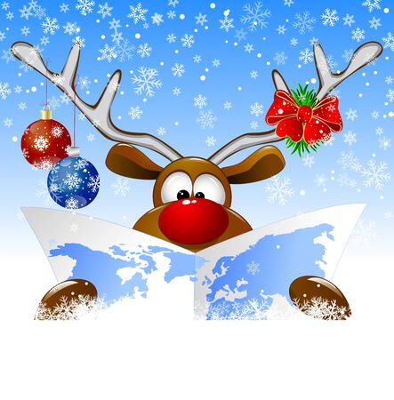 A cartoon deer is viewing a world map on Christmas Eve. Deer with a card and Christmas decorations on a winter background.   