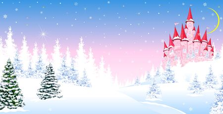 Cartoon pink castle on the background of winter snow-covered forest. Winter landscape with a pink castle.