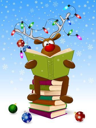 Jeleń kreskówka czyta książkę na Boże Narodzenie. Jeleń z książką i ozdobami świątecznymi na zimowym tle. Jeleń siedzi na stosie książek.