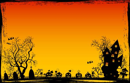 Halloween night. Pumpkins, castle, tree silhouettes, grass, scarecrow, cemetery on a sunset background. Halloween background.