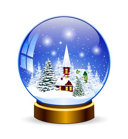 Snow globe. Winter landscape. Snow-covered village in a glass snow globe.