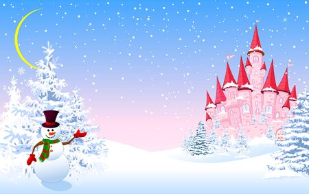 Cartoon pink castle and a snowman on a background of a winter snowy forest. Winter landscape with a pink castle. 일러스트