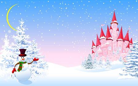Castillo rosa de dibujos animados y un muñeco de nieve sobre un fondo de un bosque nevado de invierno. Paisaje invernal con un castillo rosa. Ilustración de vector