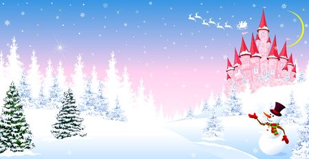 Cartoon pink castle on a background of a winter snowy forest. Winter night landscape with a pink castle. Snowman is greeting.