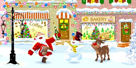 Santa Claus, deer and snowman on a snowy city street on Christmas Eve. Santa, deer and snowman celebrate Christmas.