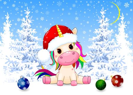 Little unicorn dressed in a Santa hat. Winter forest. Christmas night. Snow, snowflakes, trees covered with snow. Christmas decorations in the snow.