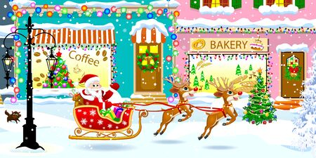 Santa Claus on a sleigh with gifts on a city street. Santa and deer. Christmas decorations on homes. Snow and snowflakes.