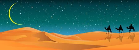 Camel riders in the sand desert. Caravan on the background of the night starry sky. Sandy desert, landscape. Stars, the moon.