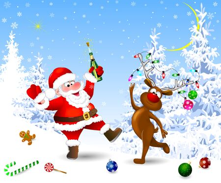 Santa and deer in the winter forest. Santa with a bottle. Santa and deer celebrate Christmas. Christmas Eve. Christmas decorations in the snow. Christmas night. Winter landscape, snow, snowflakes.