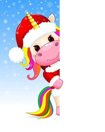 Little unicorn dressed in a Santa hat on a background of snowflakes.