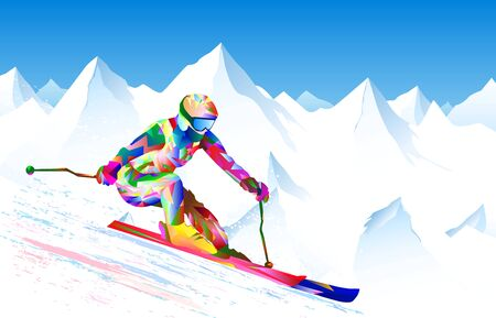 Athlete skier on a background of sky and snowy peaks. The athlete is active in skiing, performs downhill and slalom. Bright colored figure-silhouette of a skier skiing.                                                                                                                                   일러스트