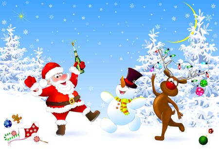 Santa, snowman and deer in the winter forest. Santa with a bottle. Santa, snowman and deer celebrate Christmas. Christmas Eve. Christmas decorations on the snow. Christmas night. Winter landscape, forest, snow, snowflakes.