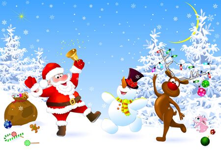 Santa, snowman and deer in the winter forest. Santa with a Christmas bell. Santa, snowman and deer celebrate Christmas. Christmas decorations in the snow. Christmas night. Winter landscape, forest, snow, snowflakes.