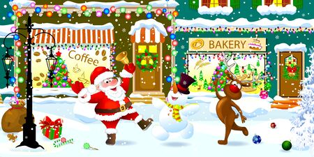 Joyful Santa Claus, deer and snowman on a snowy city street celebrate Christmas. Santa is ringing a Christmas bell.