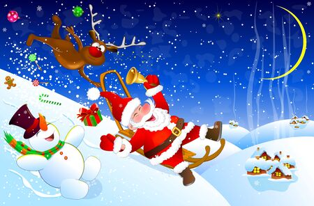 Cheerful Santa Claus descends from a hill on a sled. Santa, deer and snowman have fun descending from a snow slide. Winter night.