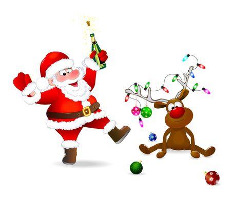 Święty Mikołaj z butelką w ręku. Jeleń ozdobiony jest bombkami i girlandą świateł. Santa i jeleń na białym tle. Ilustracje wektorowe