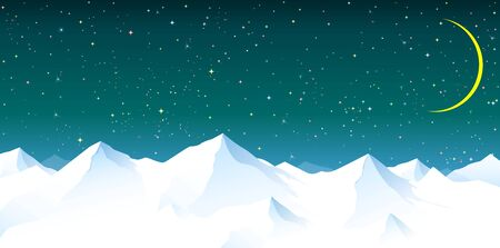 Snowy mountain peaks. Night sky. Shining stars. Moon. Mountain snowy landscape.