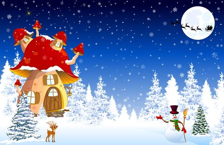 Cartoon mushroom house. Winter. Snow covered forest. Snowman welcomes. Little fawn. Winter night. Silhouette of Santa Claus on a sleigh against the background of the night sky and the moon. Winter landscape with a mushroom house.