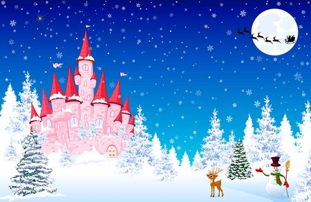 Pink castle on a background of a winter snowy forest. Snowman welcomes. Little deer. Winter landscape with a pink castle in the forest, snow, night, snowflakes. Santa Claus on a sleigh with deers on the background of the moon. 일러스트