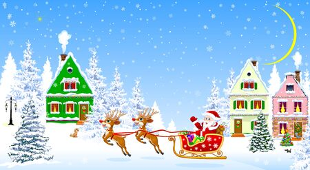 Santa Claus with presents on a sleigh. Houses, snow, snowy firs. Snowflakes. Winter night, the moon. 일러스트