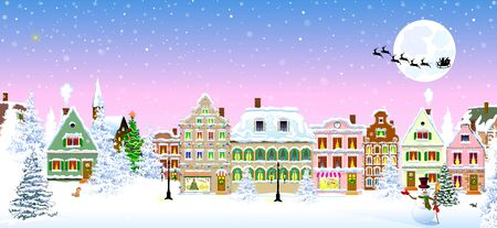 Houses, city, church, trees. Winter city landscape. Christmas Eve night. Snowflakes in the night sky. Silhouette of Santa Claus on a sleigh with deers on the background of the moon. Christmas winter night scene. 스톡 콘텐츠