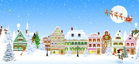 Houses, city, church, trees. Winter city landscape. Christmas Eve night. Snowflakes in the night sky. Santa Claus on a sleigh with deers on the background of the moon. Christmas winter night scene.