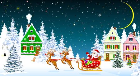 Santa on a sleigh with deers on the background of houses and forest. Santa Claus with presents on a sleigh. Houses, snow, snowy firs. Snowflakes. Winter starry night, moon. 일러스트