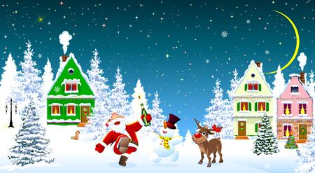 Santa Claus, snowman and deer in the night of Christmas, on the background of houses and forest. Snow covered houses and trees. Snow, snowflakes. Stars and moon in the sky. Santa, snowman and deer rejoice at Christmas. 일러스트