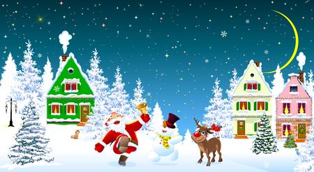 Santa Claus, snowman and deer in the night of Christmas, on the background of houses and forest. Snow covered houses and trees. Snow, snowflakes. Stars and moon in the sky. Santa, snowman and deer rejoice at Christmas. 스톡 콘텐츠 - 135647839